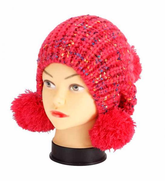 knitted hat, red melange