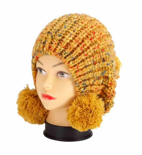 knitted hat, yellow melange