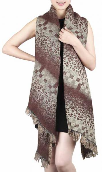 Rhomboid scarf in brown, khaki and beige