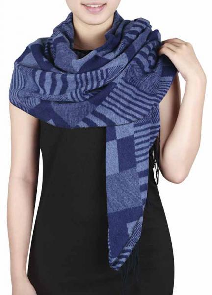 scarf,oversize, navy blue+ light grey blue
