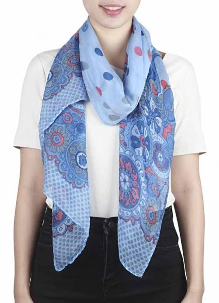 Scarf with paisley, dots, circles in light blue, red and grey