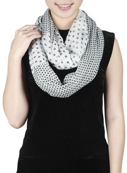 Soft light Loop scarf with points in white-black