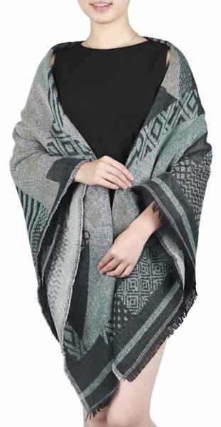 square scarf, dark grey+beige+light green+ light rubber red