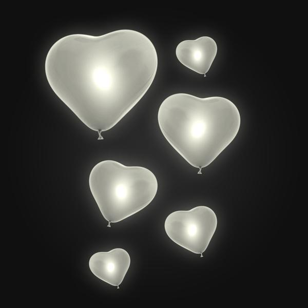 12-30570, LED Luftballon Herz, 2er Set, perlweiß, Party, Karneval, Fasching, Event, Geburtstag. Liebe, Hochzeit, usw