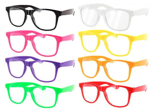 Nerdbrille Sonnenbrille Wayfarer Retro Kult Hornbrille Klarglas Hipster Party Club Brille Brillen - 0,59 Euro