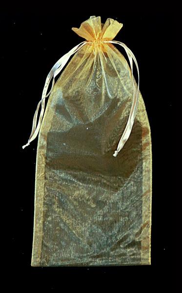 17-25503, Flaschensäckchen, Organza, gold, 35 cm, Flaschensack, Geschenkbeutel, Geschenktasche, Geschenktüte