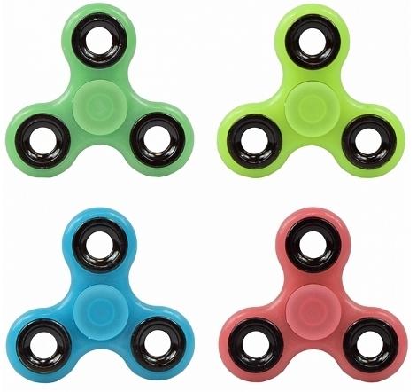 Fidget Finger Hand Spinner Glow in the Dark mit Profi Kugellager 4 Farben fluoreszierend gelb grün blau rot Kreisel
