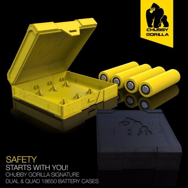 Chubby Gorilla Batterie Aufbewahrungsbox für 4 x 18650 Akkus Gelb