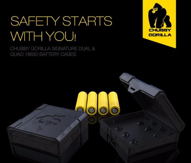 Chubby Gorilla Batterie Aufbewahrungsbox für 4 x 18650 Akkus Schwarz