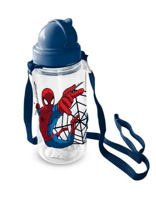 Trinkflasche Transparent 450ml Spiderman
