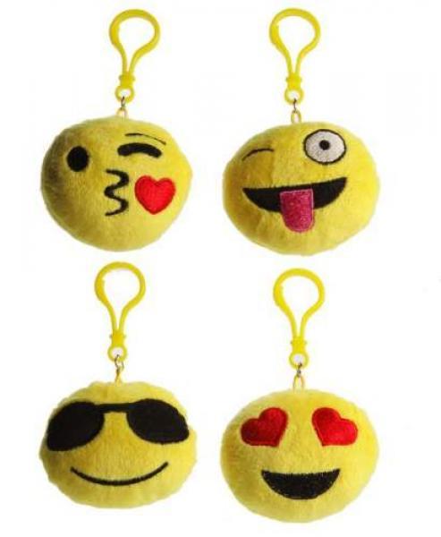 """Emotion """"Smile"""" Gesichter mit Bag Clip Anhänger 4-fach sort.ca.7cm einzeln Hangt"""