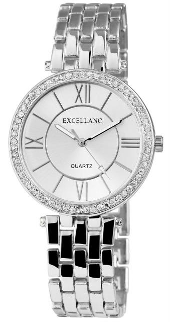 Excellanc 1509 Damen Armbanduhr silberfarben mit Strass und silberfarbenem Ziffernblatt