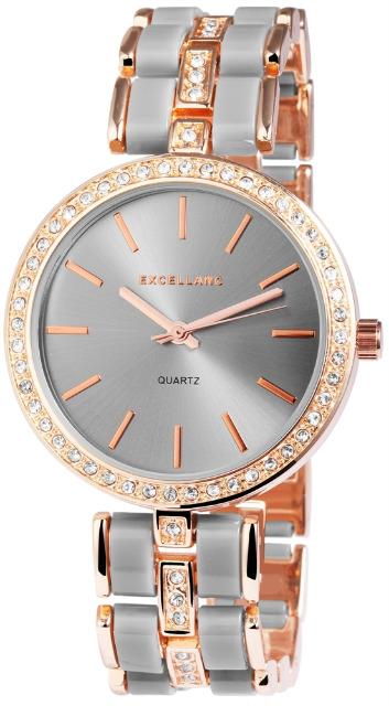Excellanc 1514 Damen Armbanduhr Farbe roségold grau mit Strass Metallarmband