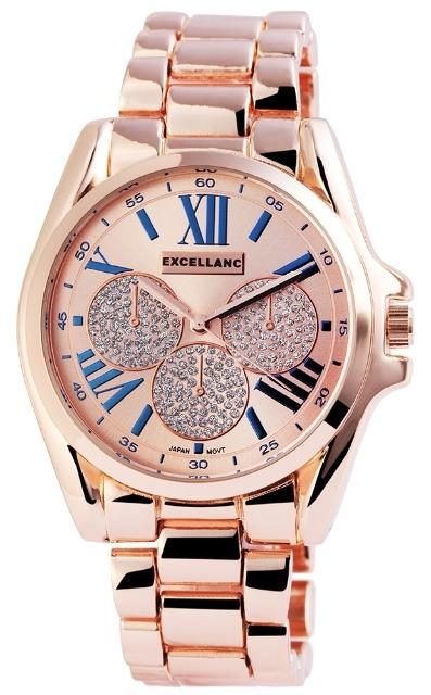 Excellanc 1516 Damen Armbanduhr roségoldfarben aus Metall und römische Ziffern