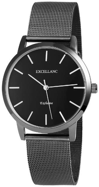 Excellanc 1520 Damen Armbanduhr schwarz mit Netzoptik Metallarmband
