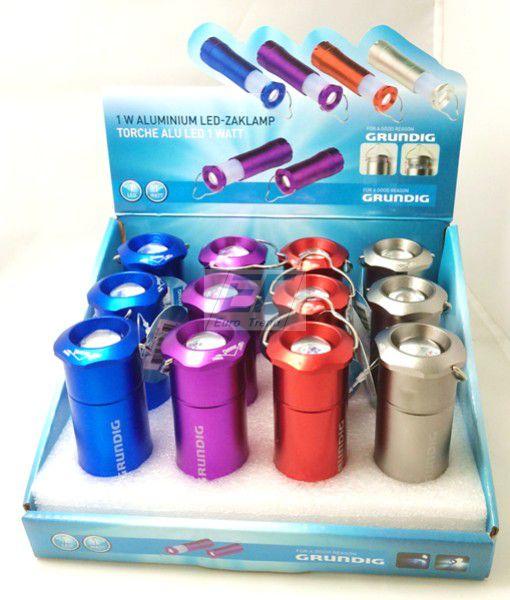 Grundig Taschenlampe Alu 1W mit Batterien