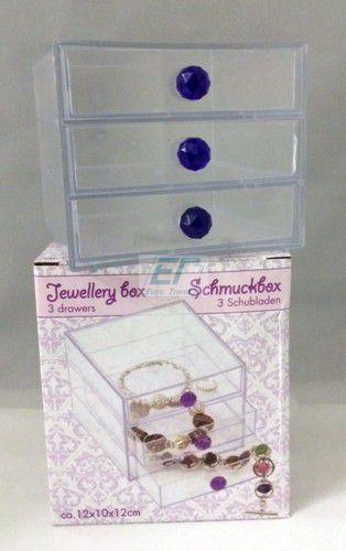 Schmuckbox Transparent 3 Schubladen 12 x 10 x 12cm