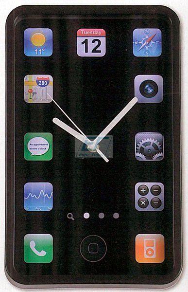 Wanduhr Phone Uhr 32cm Schwarz