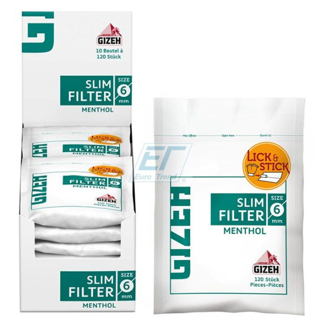 GIZEH MENTHOL Slim Filter 6mm 10 x 120er Beutel