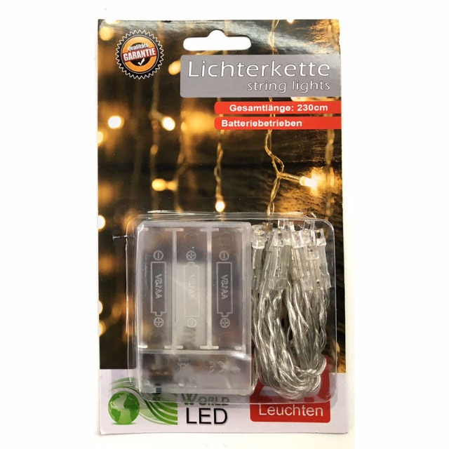28-763944, LED Lichterkette 20 LED warmweiss 230 cm