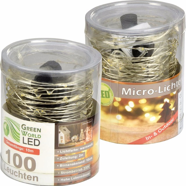 28-770201, LED Lichterkette 100 LED warmweiss, 10 Meter, für innen und außen, Weihnachtsbaum, Tannenbaum, usw