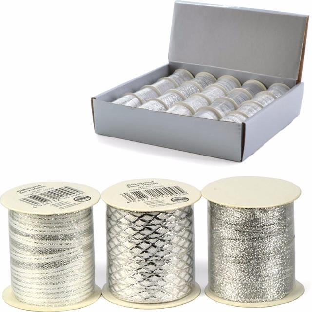 28-210100, Geschenkband silbern 3m x10 mm, Schleifenband