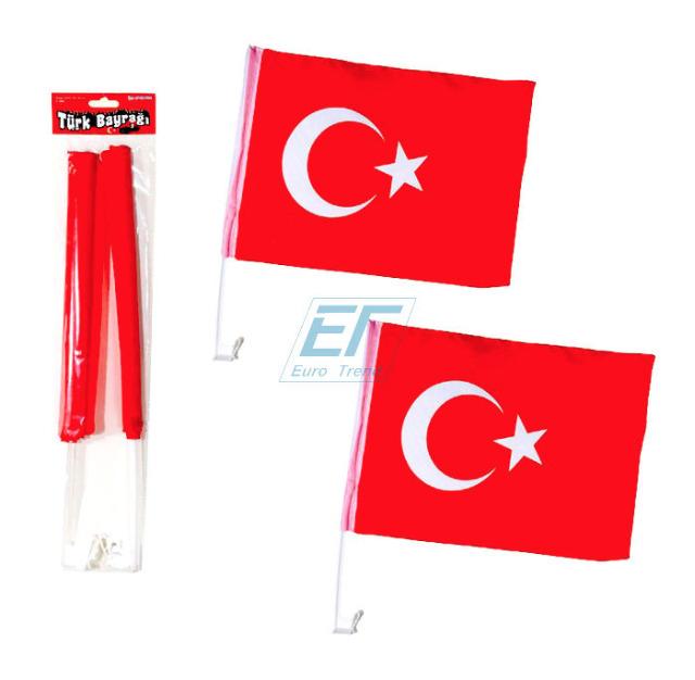 Autofensterfahne 2er Türkei-Flagge ca.45x30cm