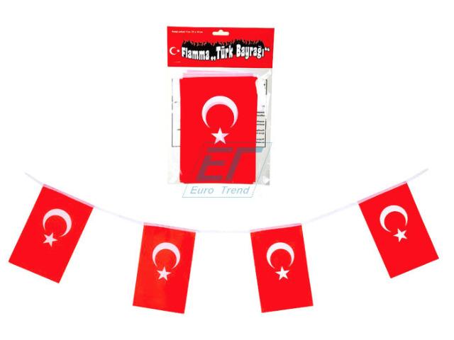 Girlande Türkei-Flagge 3 m mit 9 Fahnen