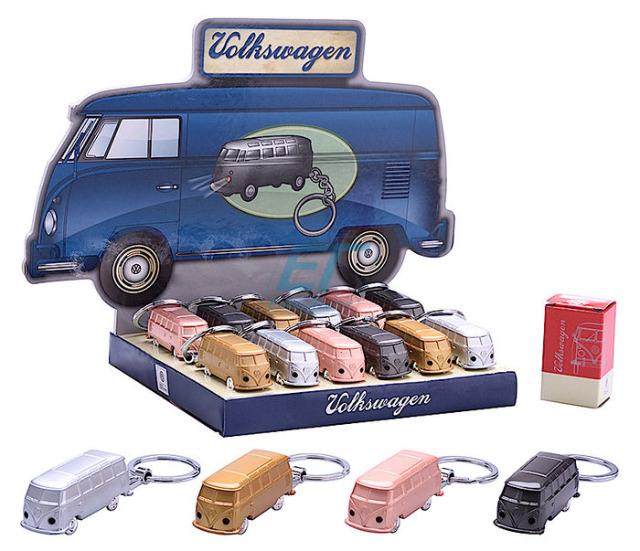 Schlüsselanhänger Modellauto Volkswagen-T1- Bus mit LED VW