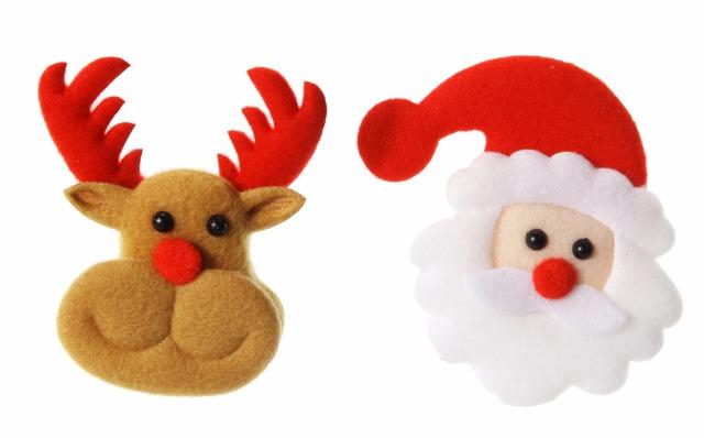 17-91343, Weihnachts LED Brosche, inkl. LR41 Knopfzelle, Rentier, Weihnachtsmann, Nikolaus, Party, Event, Weihnachtsfeier, usw