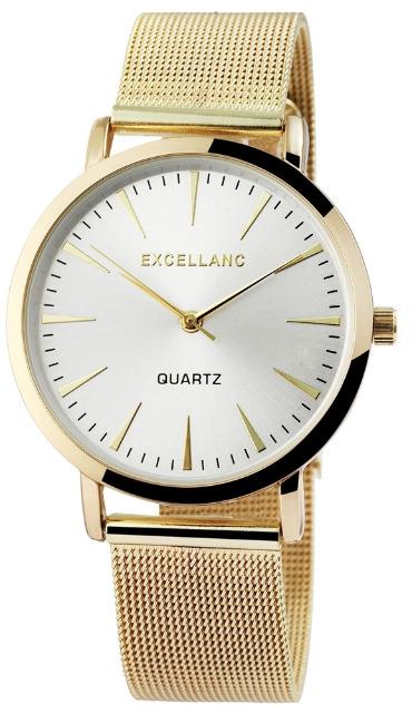 Excellanc 1522 Damen Armbanduhr Farbe gold mit Netzoptik Metallarmband