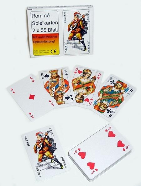 06-8189, Rommékarten, Romme Kartenspiel 2 x 55 Karten, inkl. Beschreibung, Stabile Qualität