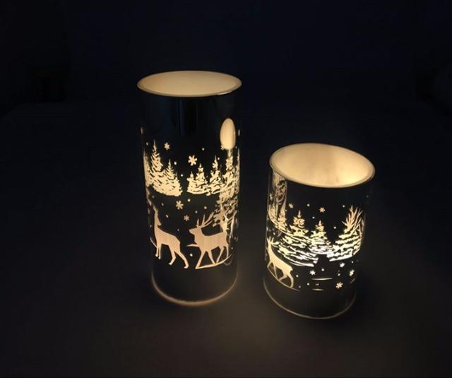 17 72703 led echtwachs kerze in glas weihnachten 10 x 7 5 cm weihnachtsmotiv flackernde. Black Bedroom Furniture Sets. Home Design Ideas