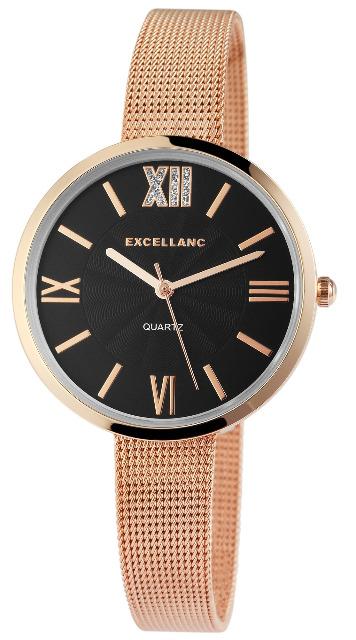 Excellanc 1526 Damen Armbanduhr Farbe roségold mit Netz Mesharmband
