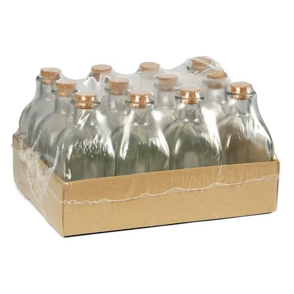 28-840784, Glasflasche 250 ml, 6,2 x 6,2 x 14 cm, mit Korkstopfen, nutzbar als Essigflaschen, Ölflaschen, Likörflaschen, Apotheker-Flaschen, Schnapsflaschen, Milchflaschen, Bierflaschen, Saftflaschen oder Weinflaschen