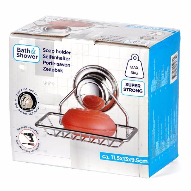 28-950822, Metall Seifenhalter mit Saugnapf, Befestigung ohne zu Bohren, Seifenschale, Seifenablage