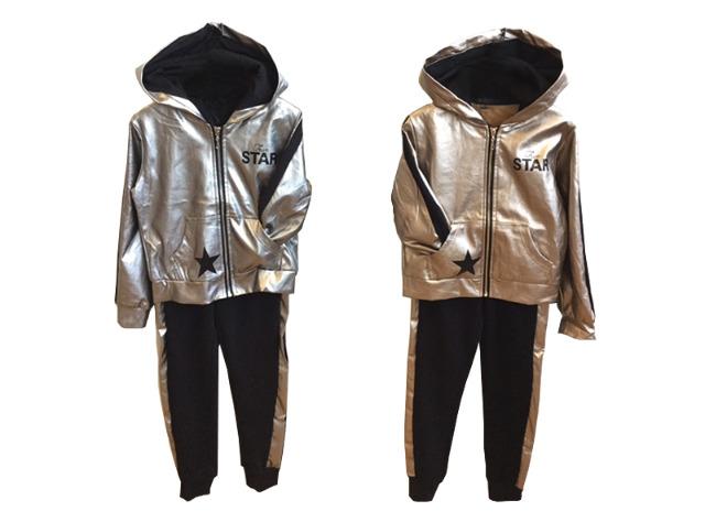 Kinder Jogginganzug Gold Silber Stern Sportanzug Trainingsanzug Kapuzenpullover - 8,49 Euro