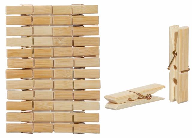 17-91395, Dekoklammern aus Bambus natur 24er Set