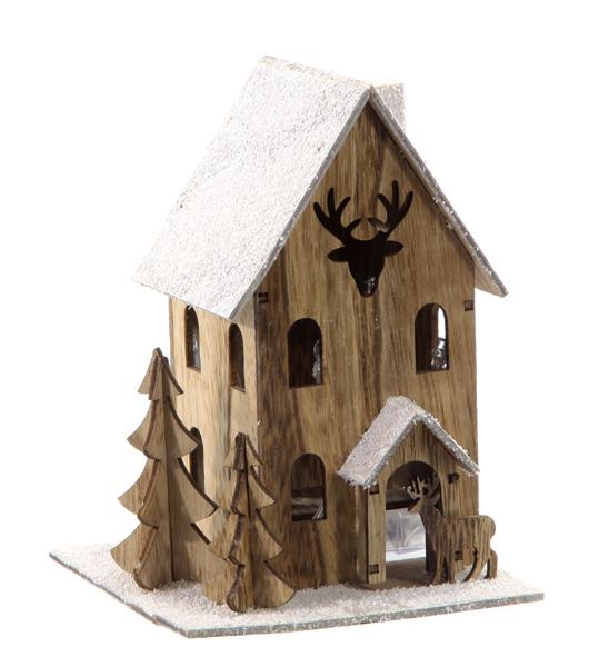 17-43488, weihnachtliches Holz LED Haus 18 x 13 cm, LED Licht mit Weihnachtsbaum, Hirsch, Tannenbaum