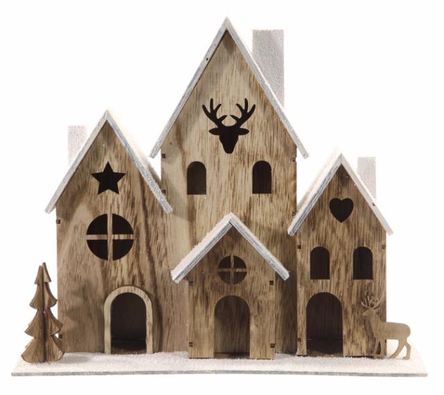 17-43489, weihnachtliches Holz LED Haus 33 x 29 cm, LED Licht mit Weihnachtsbaum, Hirsch, Tannenbaum