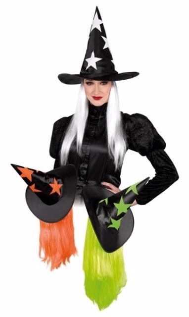 27-15368, Hut - Hexenhut Shiny Stars mit Haar, Party, Karneval, Halloween, Event, Fasching, usw