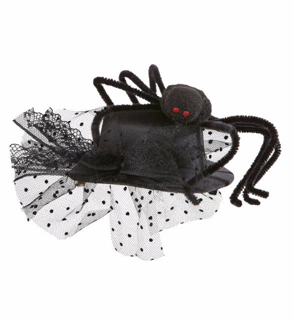 27-15506, Minizylinder mit Spinne und Tüll Party, Karneval, Halloween, Event, Fasching, usw
