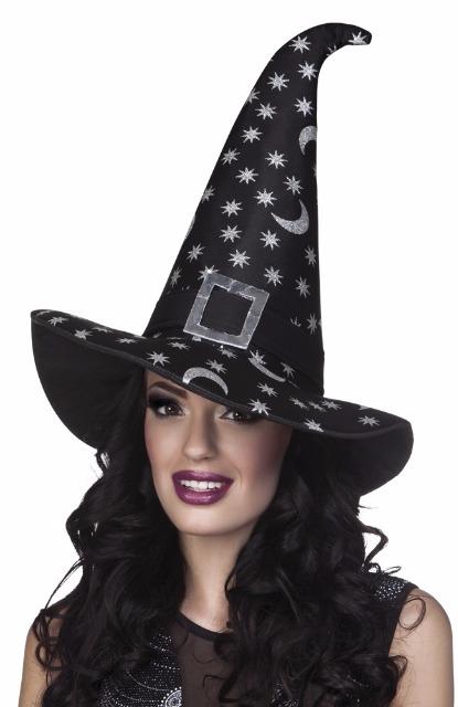 27-15507, Hut Hexe Asta mit silber Sternen und Monden Party, Karneval, Halloween, Event, Fasching, usw