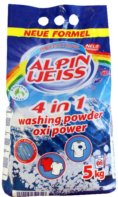 Waschmittel, Vollwaschmittel,  Alpinweiss  5 kg= 66 WG Plastikbeutel,10 KG= 133 Waschladungen.