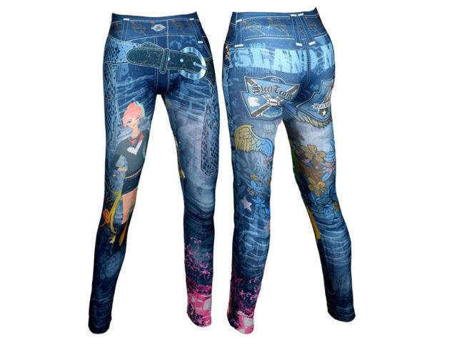 Modische Damen Leggings Leggins Jeans-Look in 2 Farben One Size -  2,90 EUR