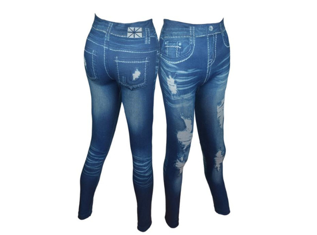 Modische Damen Leggings Leggins Jeans-Look in 2 Farben One Size -  2,90 EUR
