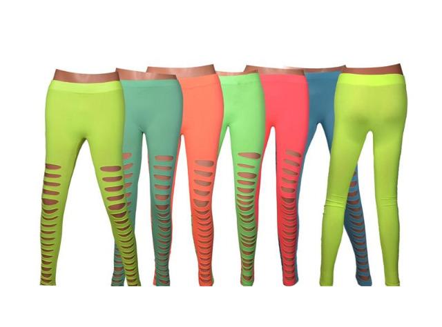 Modische Damen Leggings Leggins Neon-Look in 8 Farben One Size  -  2,90 EUR