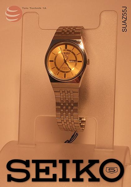 ORIGINAL SEIKO Uhren Vintage - Seiko 5 Gold Dial Automatic --NEUWARE-- 100% RETRO - JAPAN STOCK!