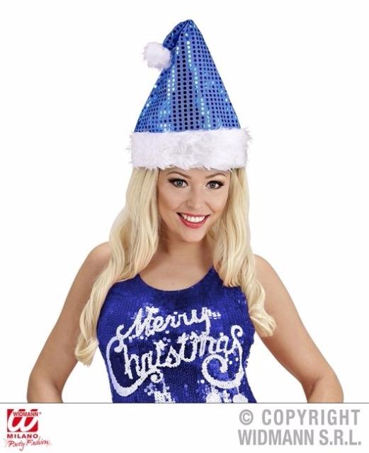 27-02425, Weihnachtsmann Mütze blau mit Glitzer-Pailetten, Nikolausmütze++++++++