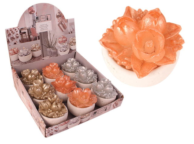 Kerze Design Kerzen mit Gefäß Candle Glitzer Blume Tischdeko Weihnachten - 0,99 Euro